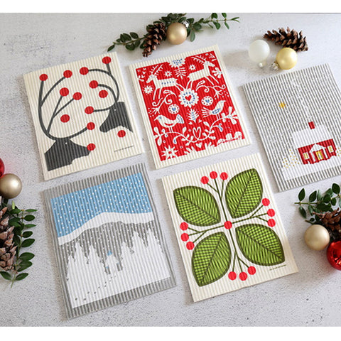 Swedish dishcloths in holiday patterns
