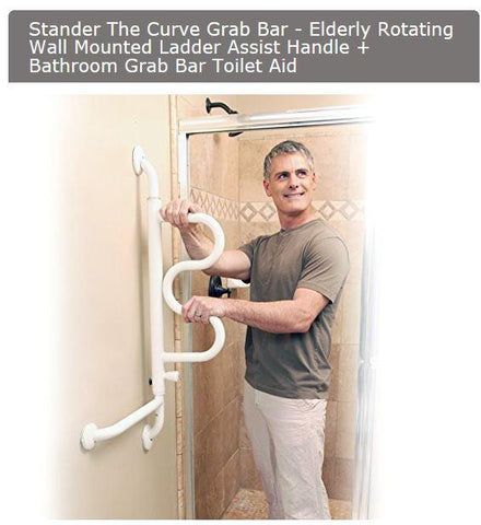 Accessories - Stander The Curve Grab Bar - Elderly Rotating Wall Mounted Ladder Assist Handle + Bathroom Grab Bar Toilet Aid