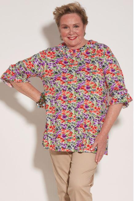 Blouses - Women's KiKi Top - Watercolor Blooms (size: From Medium To XXLarge)