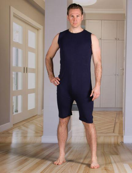 Bodysuits - Men's Bodysuit With Short Legs, Zippered-Back And Crotch (from Small - XLarge)