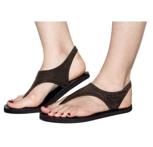 Footwear - Topsies Rayni Brown Stretch Sandal Flip Flops For Women