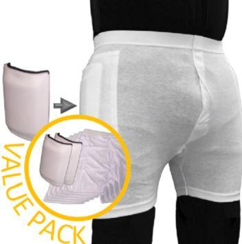 Hip Protectors - Men's Value Pack - (5) Standard Pants And (1) Pad - Huge Savings!