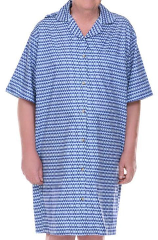 Hospital Gown - 'Dignity Pajamas' Mens Cotton Short Sleeve Adaptive Open Back Hospice Patient Gown Sleepwear (from Small To XLarge)
