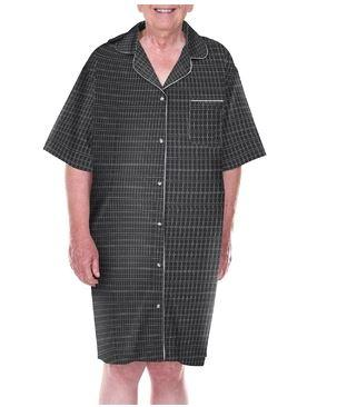 Hospital Gown - Men's 'Dignity Pajamas' - Luxury Cotton Short Sleeve Open Back Pajamas With Adaptive Velcro Closures Patient Gown Sleepwear(size: From Small To XLarge)