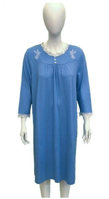 Nighshirt - Women's Night Shirt Nikki - Azure Blue (size: From Small To XLarge)