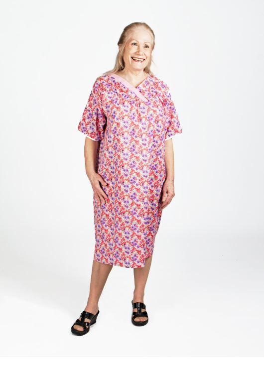 Nightgown - Women's Patterned Adaptive Nightgown - Comfortable, Polycotton, V-neck (size: Small To 3XLarge)