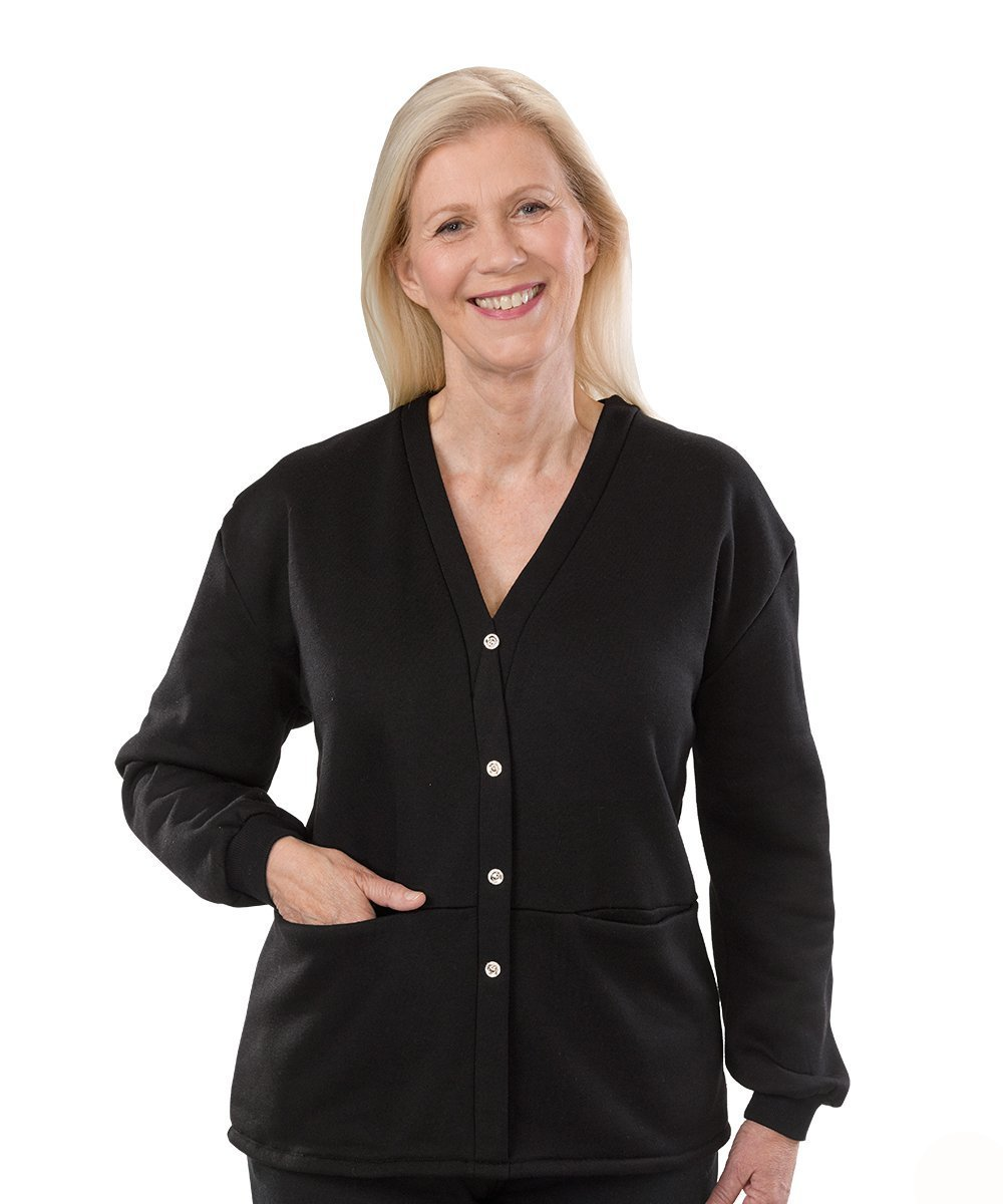 Outerwear - Womens Open Back Adaptive Fleece Cardigan With Pockets
