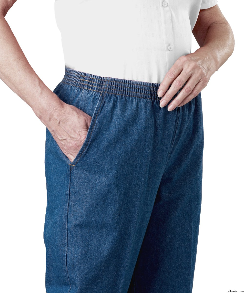 Pants - Arthritis Elastic Waist Pull On Jean Pants For Women With 2 Pockets - Clothing For Mature Women