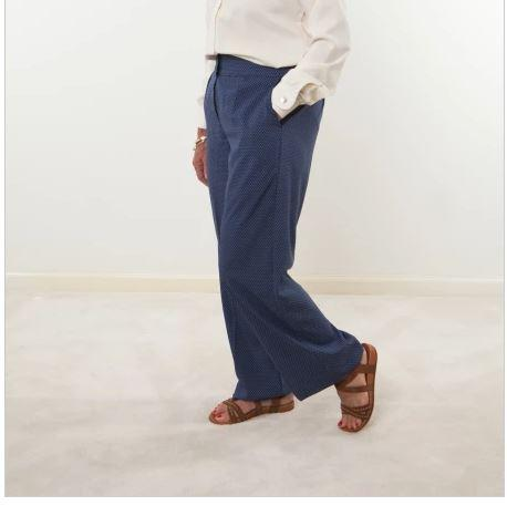 Pants - Women's Blue Print Pants - Velcro Fly For Easy Dressing And Elastic Waist  (size: From Small To XLarge)