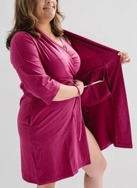 Robe - Surgery Recovery Robe With Drain Management Plus Pocketed Bra - Magenta (size: From Small To 2XLarge)