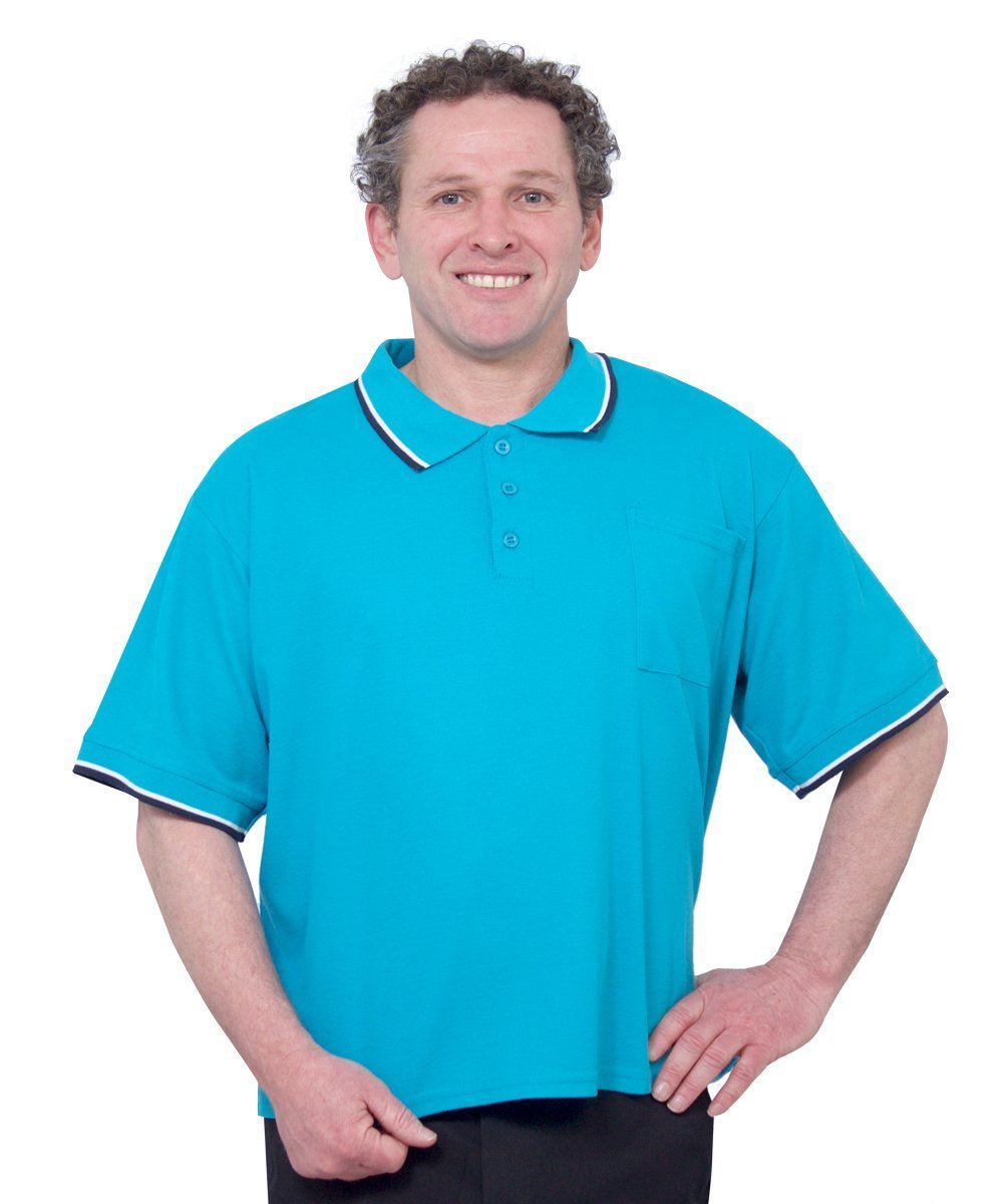 Shirts - Adaptive Clothing Men - Adaptive Polo Shirt  - Wheelchair - Back Snap