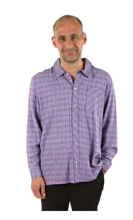Shirts - Men's Adaptive Adaptive Casual Shirt With Front Patch Pocket. - Burgundy Color (size: XSmall)