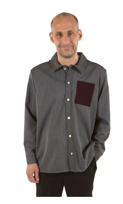 Shirts - Men's Adaptive Casual Shirt With Contrasting Color Front Pocket And Shoulder Detail.  - Colors: Grey And Moss, (size: From Xsmall To Medium)