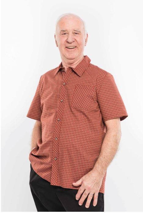 Shirts - Men's Adaptive Shirt, With 2 Useful Front Button-Fastening. - Rust Color (size: Large)