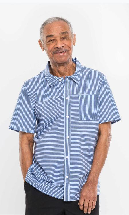Shirts - Men's Adaptive Sport Shirt, With 2 Useful Front Button-Fastening. Navy/White Color (size: From Xsmall To XLarge)