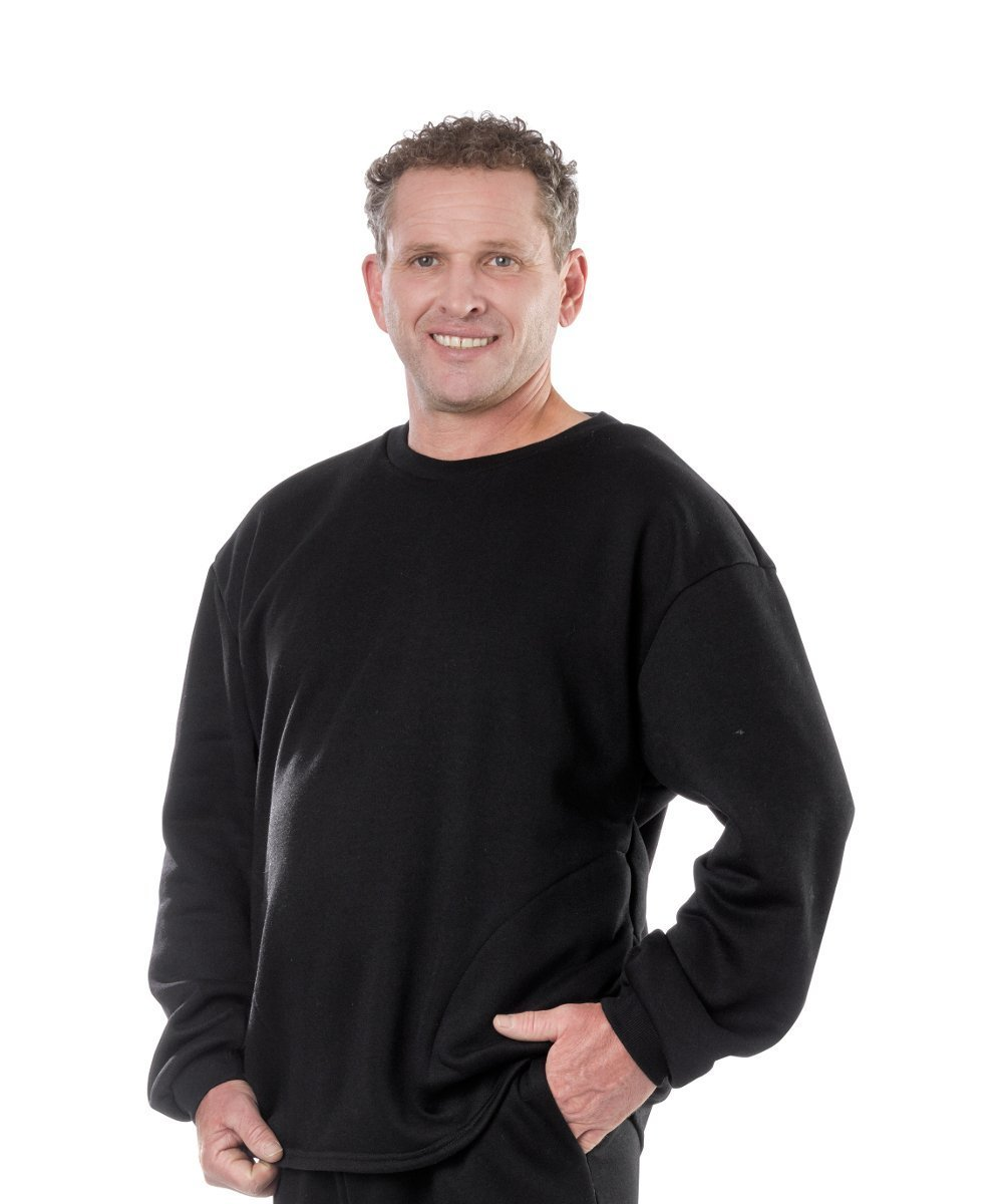 Shirts - Plus Size: Adaptive Clothing For Men - Adaptive Fleece Sweatshirt Top - Back Snap - From 2XL To 3XL