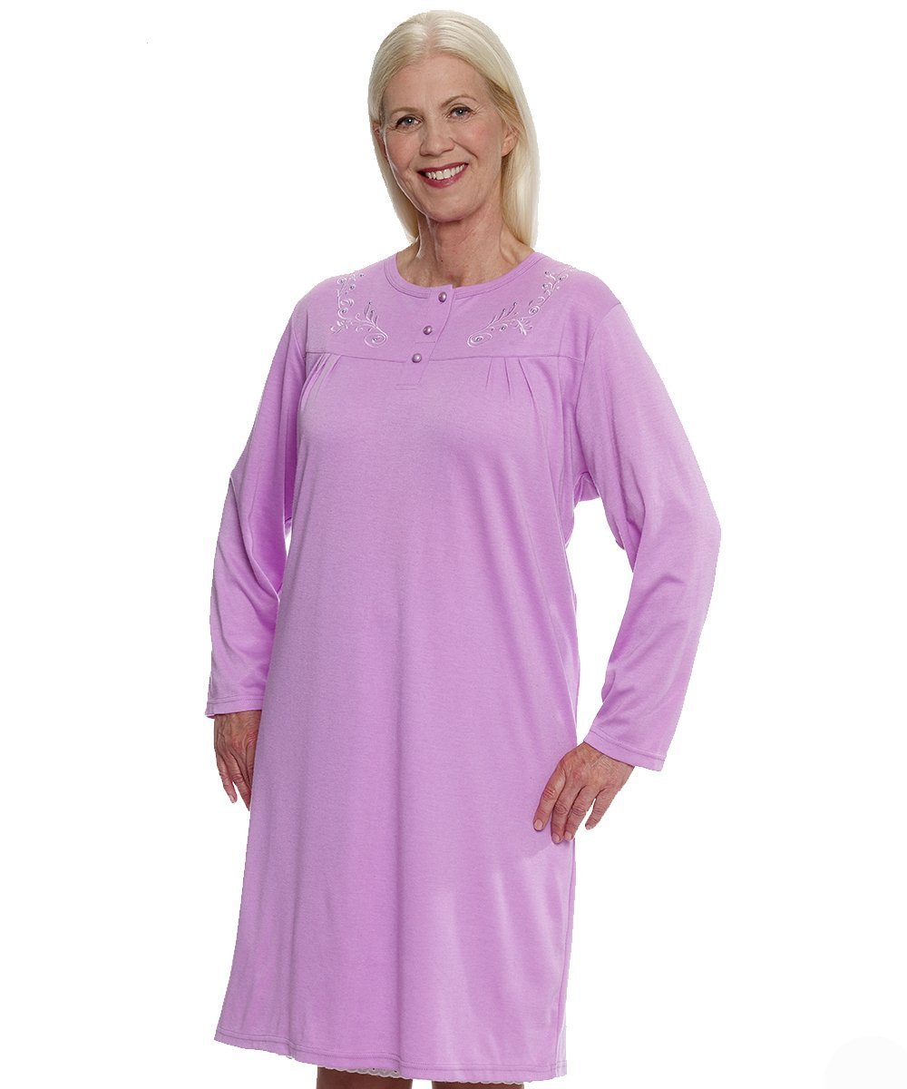 Sleepwear - Plus Size: Hospital Patient Gowns - Womens Cotton Knit Pretty Adaptive Open Back Hospital Nightgown - Back Snap Night Gowns. From 2XL To 3XL