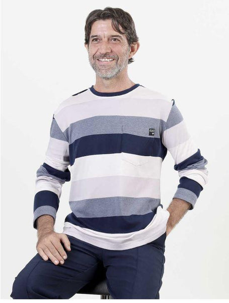 "Sweater - Men's Adaptive Striped Sweater Style ""T-shirt""  (size: From Small To 3XLarge)"