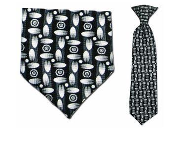 Tie - Boy's Black/White Pac Pattern Clip-on Tie (10.5 Inch Long For Ages Toddler To 8 Years)