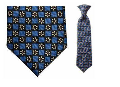 Tie - Boy's Blue Daisy Pattern Clip-on Tie (10.5 Inch Long For Ages Toddler To 8 Years)