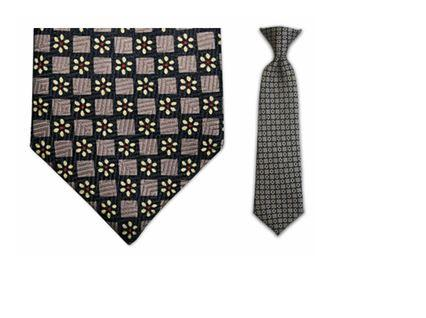 Tie - Boy's Brown Daisy Pattern Clip-on Tie (10.5 Inch Long For Ages Toddler To 8 Years)