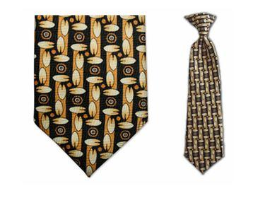Tie - Boy's Gold Pac Pattern Clip-on Tie (10.5 Inch Long For Ages Toddler To 8 Years)