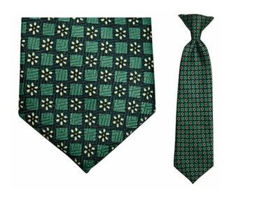 Tie - Boy's Green Daisy Pattern Clip-on Tie (10.5 Inch Long For Ages Toddler To 8 Years)