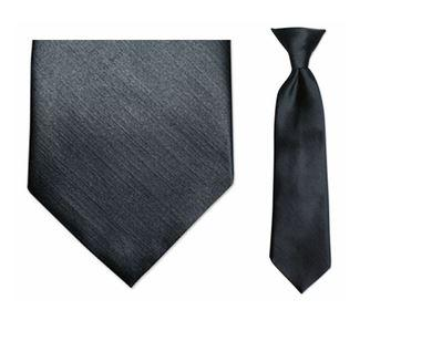 Tie - Boy's Solid Charcoal Clip-on Tie (10.5 Inch Long For Ages Toddler To 8 Years)