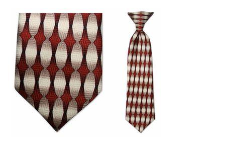 Tie - Boy's Solid Red Oval Pattern Clip-on Tie (10.5 Inch Long For Ages Toddler To 8 Years)