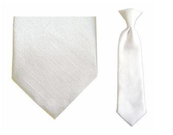 Tie - Boy's Solid White 10.5 Inch Clip On Tie (for Ages Toddler To 8 Years) > Communion Tie