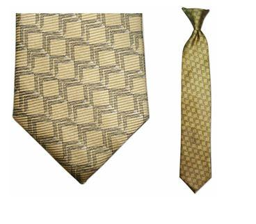 "Tie - Junior Yellow Link Pattern Silk 14"" Clip-On Tie For Ages 9 - 12"