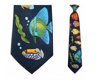 "Tie - Men's Aquarium Theme Clip On Tie (Sizes  19"" And 21"")"