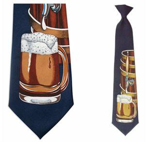 "Tie - Men's Beer Barrel Theme Clip On Tie (Sizes  19"" And 21"")"
