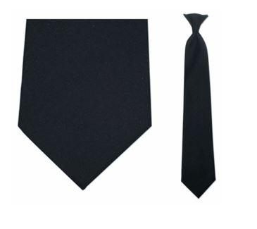 "Tie - Men's Black Uniform Clip-On Tie (Sizes 17"", 19"", 21"" + 23"")"