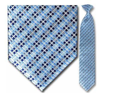 "Tie - Men's Blue, Black And White Box Pattern Clip-On Tie (Sizes 17"", 19"", 21"" + 23"")"