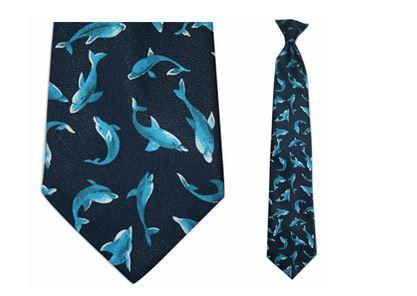 "Tie - Men's Dolphin Theme Clip On Tie (Sizes  19"" And 21"")"