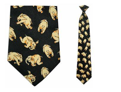 "Tie - Men's Elephant Theme Clip On Tie (Sizes  19"" And 21"")"