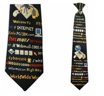 "Tie - Men's Internet Cyber Theme Clip On Tie (Sizes  19"" And 21"")"