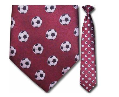 "Tie - Men's Maroon Woven Soccer Clip On Tie (Sizes 17"", 19"", 21"" + 23"")"