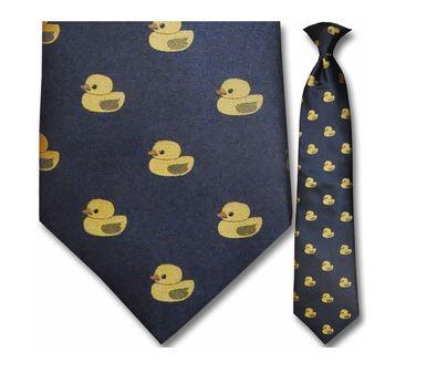 "Tie - Men's Navy Woven Rubber Duck Clip On Tie (Sizes 17"", 19"", 21"" + 23"")"