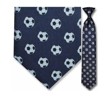 "Tie - Men's Navy Woven Soccer Clip On Tie (Sizes 17"", 19"", 21"" + 23"")"