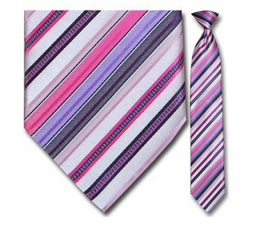 "Tie - Men's Pink And Violet Striped Clip-On Tie (Sizes 17"", 19"", 21"" + 23"")"