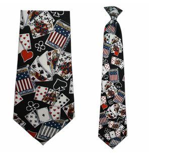 "Tie - Men's Poker Theme Clip On Tie (Sizes  19"" And 21"")"