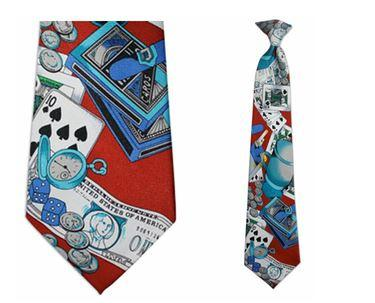"Tie - Men's Red Casino Theme Clip On Tie (Sizes  19"" And 21"")"
