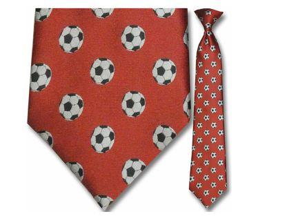 "Tie - Men's Red Woven Soccer Clip On Tie (Sizes 17"", 19"", 21"" + 23"")"