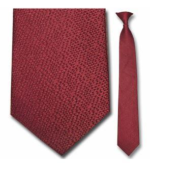 "Tie - Men's Silk Narrow Burgundy Pattern Clip-On Tie (Sizes 17"", 19"", 21"" + 23"")"