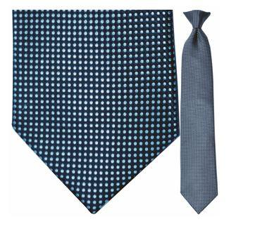"Tie - Men's Silk Woven Blue Dot Pattern Clip-On Tie (Sizes 17"", 19"", 21"" + 23"")"