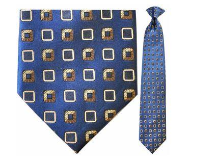 "Tie - Men's Silk Woven Blue With Gold Boxes Pattern Clip-On Tie (Sizes 17"", 19"", 21"" + 23"")"