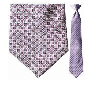 "Tie - Men's Silk Woven Maroon And Purple Circular Pattern Clip-On Tie (Sizes 17"", 19"", 21"" + 23"")"