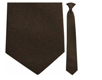 "Tie - Men's Solid Brown Uniform Clip-On Tie (Sizes 17"", 19"", 21"" + 23"")"